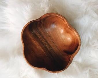 Teak Wood Carved Bowl Flower
