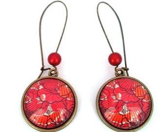 African Wax print fabric red orange - glass cabochon dangle earrings