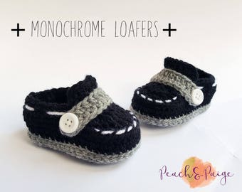 Newborn Crochet Little Man's Loafers. Monochrome. Babyshower gift. photography prop. infant 0-3 months.