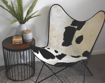 Genuine Black and White Cow Hide Cowhide Butterfly Chair - PICKUP ONLY from Everton hills Brisbane QLD