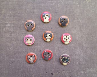40 buttons wood animal feline cat