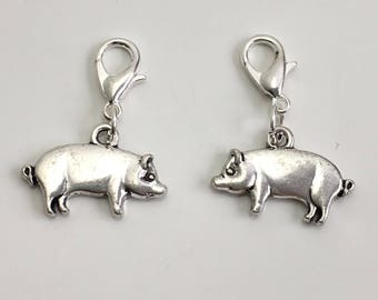 Pig stitch markers or progress keepers (set of 2)