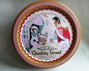 1997 Vintage tin / Quality Street / Circular tin with lid / re- issue of 1936 design / Mackintosh's Quality Street Chocoalte tin