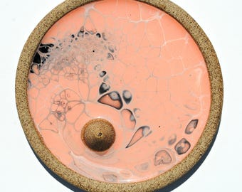 Pink & Monochrome Resin In Clay Incense Burner