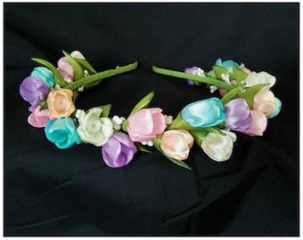 Headband with blue, purple, green and yellow kanzashi flowers /Kanzashi Tiara/ Flower girl headband
