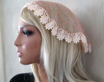 Petite Peach Apricot Round Chapel Veil | Catholic Veil | Chapel Veil | Mantilla | Lace Veil | Veil for Mass | The Veiled Woman