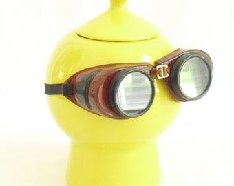 Vintage Bakelite Welders Safety Goggles, Removable Green Glass Lenses, Adjustable Elastic Comfort Strap, Welders Glasses, Vintage Eyewear