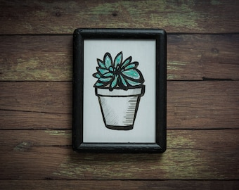 Potted Succulent in a Reclaimed, Black, Wood Frame (Original)