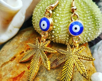 Third Eye Cannabis Leaf Earrings.