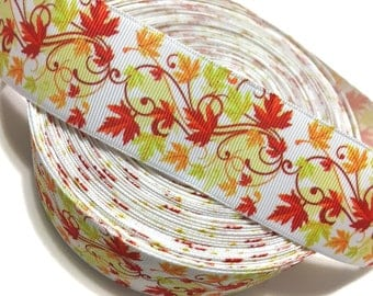 "1.5"" Maple Leaves Ribbon, Maple Leaf Ribbon, Fall Ribbon, Thanksgiving Ribbon, maple Grosgrain Ribbon, Autumn Leaves Ribbon"