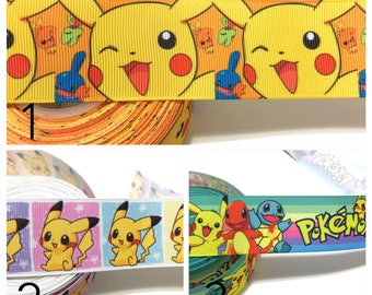 "1.5"" Pokemon Ribbon, Pikachu Ribbon, Pokemon Grosgrain Ribbon, Pikachu Grosgrain Ribbon"