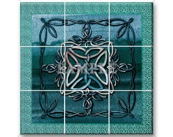 """Ceramic Tile Mural Celtic Knot Home Decor Teal Tile Design #1 12.75""""x12.75"""" Or 18""""x18"""" Backsplash Kitchen Bathroom Tile Home Decor"""