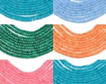 2 mm faceted spacer beads ,   rondelle agate semi-precious gemstone in various colours