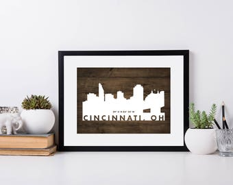 Cincinnati City Art, Coordinate Art, House Warming, Newly Weds, Tourist,  Travel
