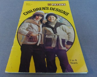 Knitting and Crochet Patterns, Childrens Designs 1 to 6 years, Patons Book 410, 1970s, Sweaters, Dresses, Cape, Vest, Boys and Girls