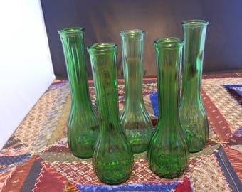 5 green bud vases