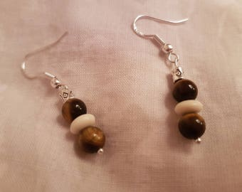 Tigers Eye, tribal bead and silver barrel Sterling silver drop earrings