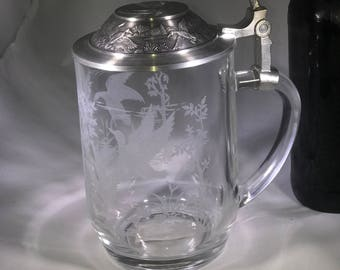 Glass Beer Stein Etched Ducks with Pewter Lid