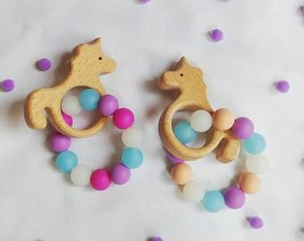 Unicorn Teether/Unicorn teething toy/Unicorn shape teether/Wooden Unicorn