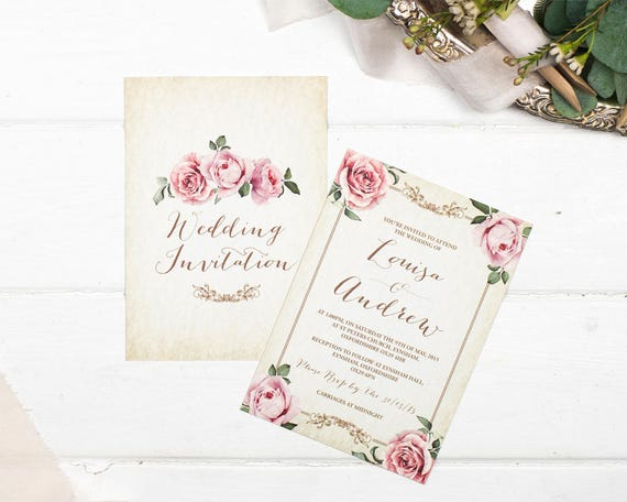 Rustic Wedding Invitation & Rsvp Set - Floral Framed Ivory