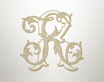 Ornate Monogram Design - KR RK - Ornate Monogram - Antique
