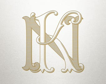 Digital Wedding Monogram - KN NK - Wedding Monogram - Interlocking