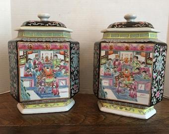 Vintage Hand Painted Temple Jars