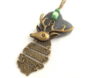 Bronze deer opens-necklace