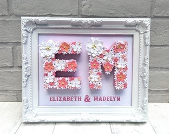 Baptism name gift, Christening name gift, Personalised gift for sisters, Name frame for siblings, Pink and white gift, Nursery name decor