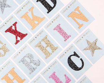 KUSTOM glitter initial stickers for personalisation