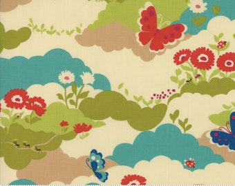Lucky Day Multi Cotton Fabric by Momo for Moda, Japanese Fabric, Butterfly Field
