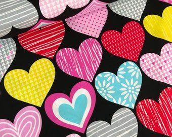 Big Hearts on Black Cotton Fabric from the Big Love Collection by Studio e Fabrics, Hearts, Valentine's Day