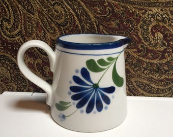 Dansk International Designs Creamer - White with Blue Flower