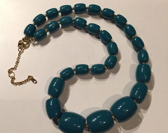Avon Teal Blue Beaded Necklace