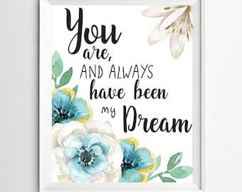 Inspirational quotes, Nursery decor, Kids Wall Art, my dream print, Positive Art, Quote Print, wall decor, Motivational quote art