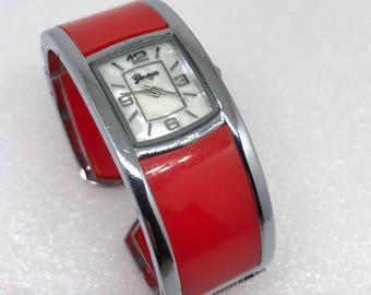 Vintage Women's Geneva Watch *Needs Battery* Cuff Bracelet Style 80's Style Watch RED Silver Tone