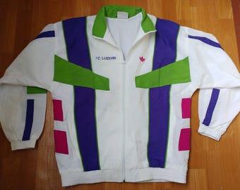 ADIDAS track jacket, FC Luzern vintage full zip white hip hop jacket of 90s hip-hop clothing, 1990s gangsta rap, old school, size L Large D6