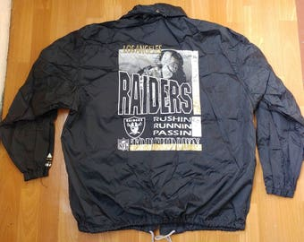Oakland Raiders jacket, 1991 Campri Teamline windbreaker, vintage Los Angeles Raiders, football, NFL 90s hip-hop 1990s hip hop, size L Large