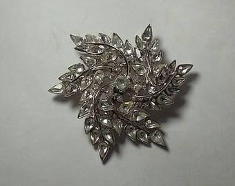 Vintage Signed Crown Trifari Brooch Silver Metal Rhinestone, Star