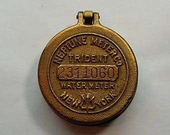 Vintage Brass Neptune Trident Water Meter Cover, New York