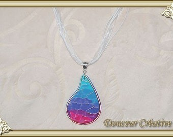 Blue and pink drop necklace Crackle 103044