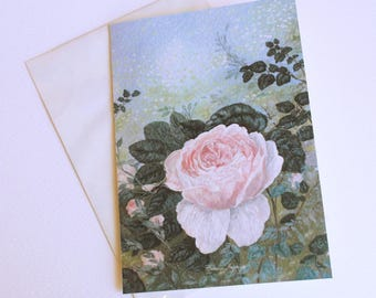 Greeting card with image of a rose in the garden