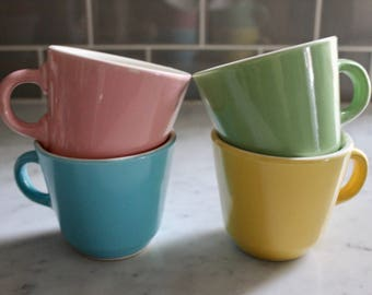 Vintage Set of Four Pastel Ironstone Cups with Metal Holder