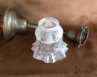 Antique Victorian brass hall or bedroom ceiling fixture lamp with ruffle glass shade