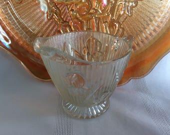 Jeannette glass Iris or Herringbone pattern clear glass creamer
