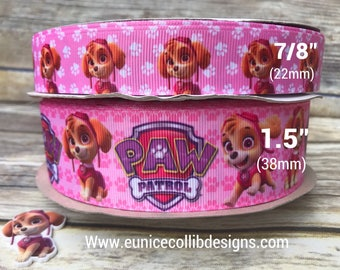"1.5"" and 7/8"" character grosgrain ribbon."