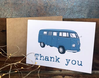 thank you vw kombi card in blue, husband, dad, son