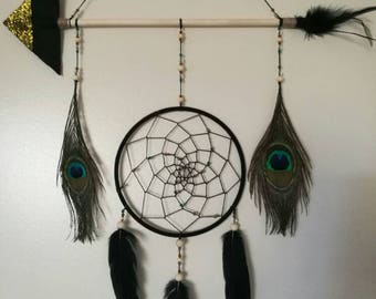 Black, gold & turquoise arrow dream catcher with peacock feathers