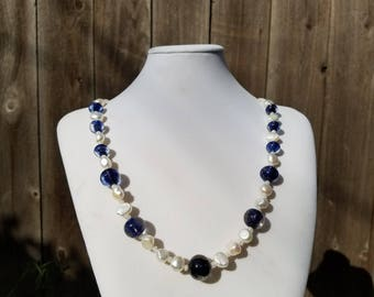 Blue Torchwork Glass and Fresh Water Button Pearls
