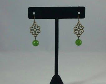 Bronze and green bead earrings, boho,dressy